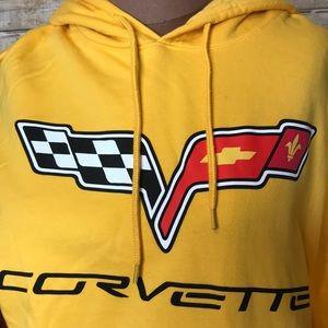 Corvette Bright Yellow Hoodie Sweatshirt Medium